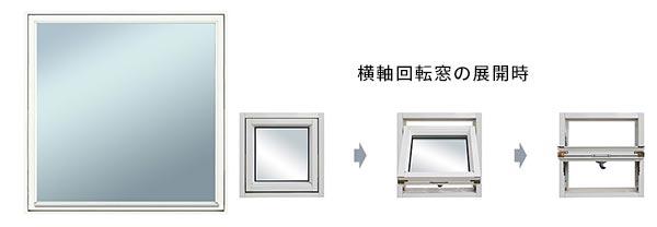 大阪府大東市の北欧住宅建材販売オストコーポレーション関西の取り扱いブランド北欧木製三層ガラス窓の横軸回転窓の展開時